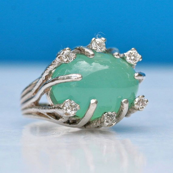 Amazing Sterling silver chalcedony and cz ring vintage style ring size 6 by Zulasurfing