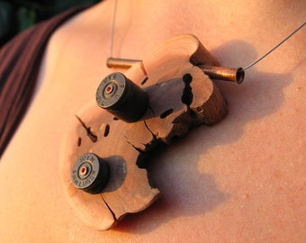 Showstopping (and Bullet-stopping) Organic Wood Necklace