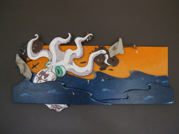 Custom Listing for PJ - Remainder for Painting, Plus Shipping - Giant Squid Takes Down A Pirate Ship