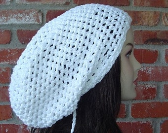 Summer slouchy hat, pure white cotton hippie dreadlock hat, slouchy beanie tam hat in crochet, open stitch beanie, woman slouchy hat, man