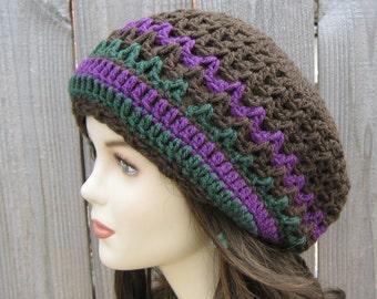 Mocha slouchy beanie, smaller dread tam Tam Hippie Dreadlock Hat, Bohemian woman Slouchy hat