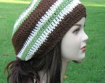 Earthy stripes slouchy beanie, Hippie Dread Tam slouchy beanie hat handmade slouchy hat in brown green ecru, woman hat or man beanie hat