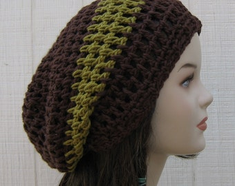 Earthy cotton slouchy beanie, dread tam Dreadlock Hippie Slouchy Hat, brown green snood hat, woman or man hat