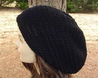Slouchy Beanie, longer black Tam hat,  Dreadlock hat, Hippie Beanie Hat, slouch beanie, woman hat, man beanie, Dread tam hat, black beanie