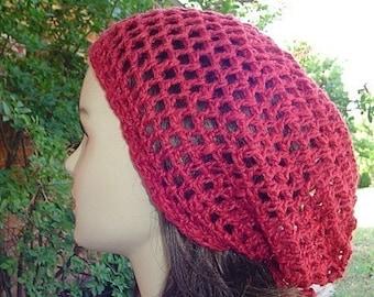 Hemp Wool beanie, short tam hat, slouchy beanie hat, snood hat, Hippie hat, women hat, Chili Red slouch beanie