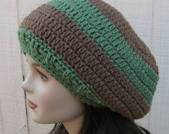 Slouchy hat, slouchy beanie sage green cafe brown beanie, smaller hippie dread tam hat, Bohemian slouch beanie hat, BoHo handmade beret hat