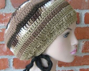 Earth Brown Hippie Dread Tam slouchy beanie hat handmade