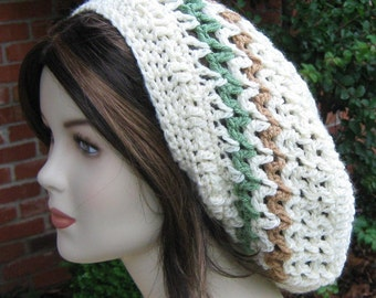 Cream slouchy hat, Zig Zag  Dread Tam Hippie Dreadlock Hat Slouchy Beanie
