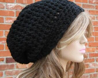 Black hat, slouchy beanie, black staple beanie, Hippie Dreadlocks snood hat, Dread Tam hat, woman slouch beanie, man slouchy hat, vegan hat