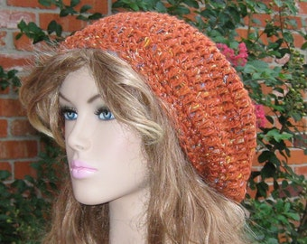 Slouchy hat, Rust Shine Wool Bohemian Hippie Tam Hat, woman Slouchy Beanie dread beret burnt orange, women beanie