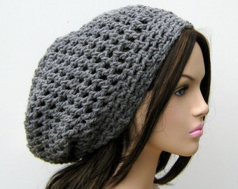Thick Gray staple Hippie Dreadlock snood Dread Tam slouchy beanie hat grey