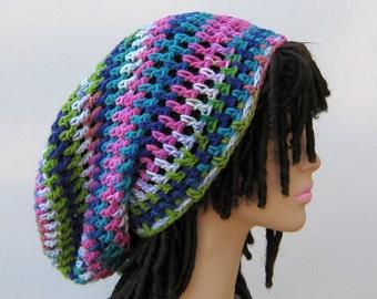 Happy Days Dread Tam very Slouchy Hippie long Beanie Hat Handmade