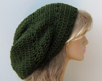 Olive long slouchy beanie, green snood Hippie Dreadlock Tam, dread tam slouchy beanie hat, man woman slouchy hat