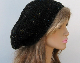 Black Tweed slouchy hat, small Tam Dread Hippie Slouchy Beanie Hat, womens slouchy hat, slouchy beanie