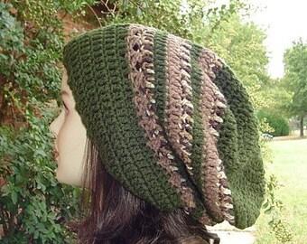Olive Brown slouchy hat, longer snood Hippie Dreadlock dread Tam hat very slouchy beanie, green
