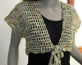 Sale Bohemian tie shrug hippie boho bolero sweater vest top L Large