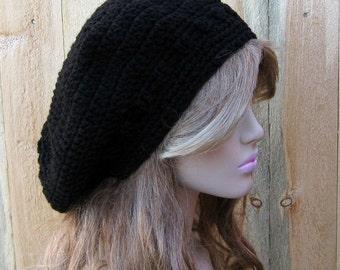 Black Beret hat, Artist hat, slouchy beanie, man slouch hat, woman hat, Dread tam, Slouchy hat, Crochet Hippie Beanie Hat, handmade hat