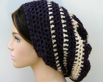 Hemp slouchy hat, Dark purple cream Hemp Wool Tam Hat Dreadlock Hippie slouchy beanie