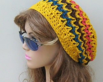 Yellow summer hat, Soy hemp wool slouchy beanie, small Dread hat, Woman Slouchy Beanie, Hippie slouch Hat, Slouchy beanie, baggy hat, canary