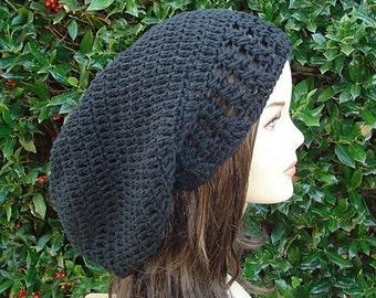 Slouchy hat, Long Cotton Tam Dreadlock Hippie Slouchy Beanie Black Snood Hat