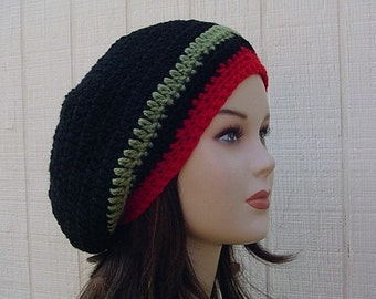 Woman or man slouchy hat, Smaller striped Hippie short dreads Tam Hat Slouchy Beanie Crochet, black green red beanie