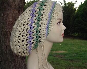 Cotton Hemp Hippie Tam Hat Slouchy Beanie snood