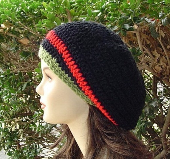 Slouchy hat, Black red green stripes Tam Dread Hippie Slouchy Beanie Hat, woman slouch hat, man slouchy beanie