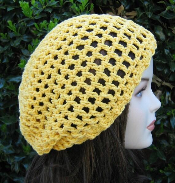 Summer slouchy hat, Sunshine Cotton Hippie Tam small Dread tam, slouchy beanie hat, yellow beanie, cotton woman beanie