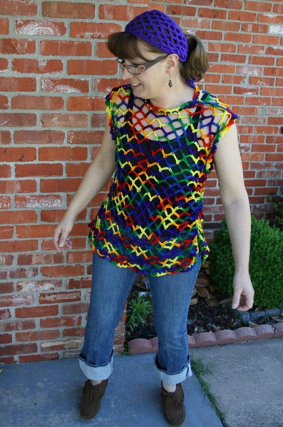 Super Sale Mesh blouse top tunic cover-up shirt crochet L Large