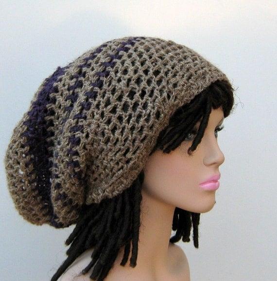 Last one Custom stripes Hemp Wool Earthy Hippie Dread Tam Hat Slouchy Beanie mandala