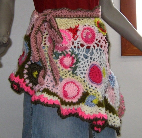 Freeform crochet Wrap Skirt Cape Apron Sarong skirt patchwork Hippie Boho Gypsy layering