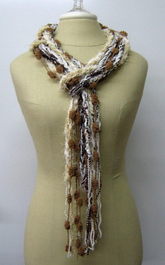 Cafe Latte braids Gypsy Fringe Scarf skinny lariat Hippie neck wear