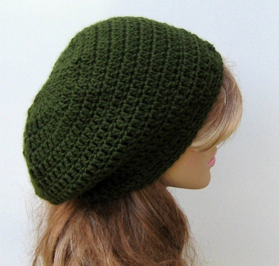 Slouchy hat, Olive smaller Tam Dread Hippie Slouchy Beanie Hat, woman or man beanie hat