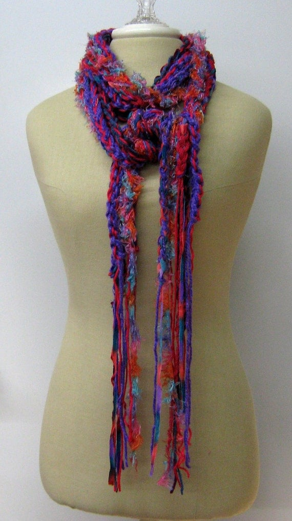 Purple Festival braids Gypsy Fringe Scarf skinny lariat Hippie neck wear