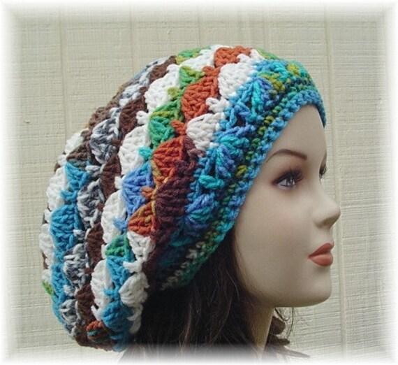 Slouchy hat, Peruvian Shells small tam, hippie dreads slouchy beanie hat, beret, Bohemian beanie, woman hat, slouch beanie hat