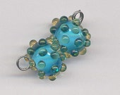 Bleu Verre Lampwork Beads - Aqua with Yellow Dots