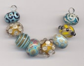 Bleu Verre Lampwork Beads - Clearance Beads - Turquoise and Topaz