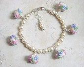 FAIRY TALES  Roses and Pearls Lampwork Children's Bracelet