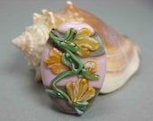 Lampwork Glass Focal Bead - Yellow Orange Flowers and Vines