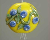 Lampwork Glass Focal Bead - Blue and Pink Rosettes on Yellow