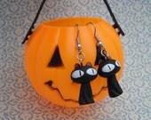 Black Cat Earrings - Halloween Earrings - Big Eyed Cat Charm Earrings