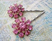 Pink Rhinestone Flower Hair Pins