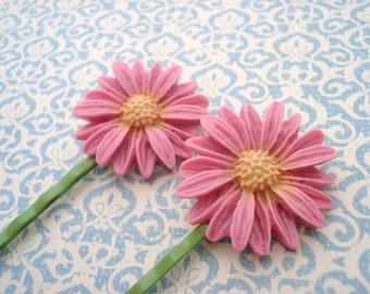 Pink Daisy Hair Pins