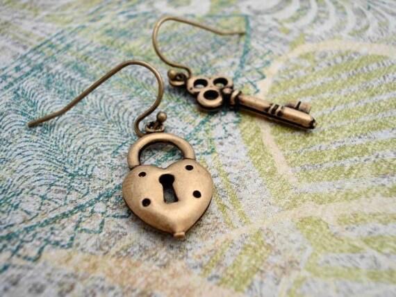 Heart Lock and Key Earrings