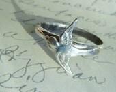 Sterling Silver Swallow Bird Ring-Romantic, Tattoo, Steampunk Free Shipping Worldwide
