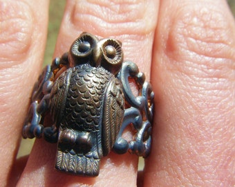 Woodland Owl Ring -Romantic, Tattoo, Steampunk, Victorian Style Filigree Macabre Ring