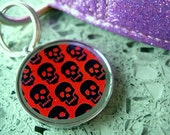 Red with Black Skulls Pet ID Tag
