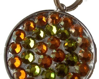 Designer and Unique Swarovski Rhinestone Pet ID Tag Copper and Olivine