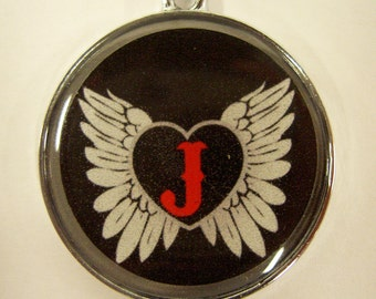 Wings Around Heart with Red Initial Pet ID Tag Dog Tag Cat Tag