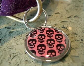 Pink with Black Skulls Pet ID Tag